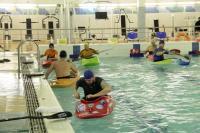 В новом бассейне, зимний сезон 2015-2016г. Водная часть тренировки