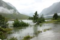 Выезд в Норвегию, 2013. Дорога залита - паводок.